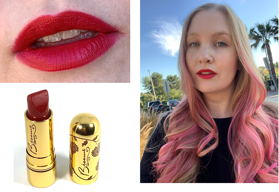 red lipstick look and swatch